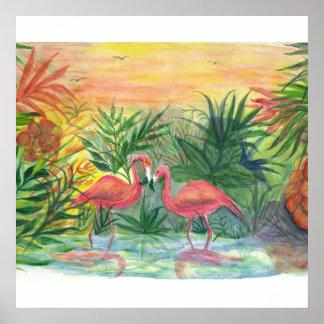 Arte tropical de la Florida de los flamencos Póster