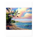 Arte tropical de la playa tarjeta postal