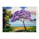 Arte tropical del árbol del Jacaranda Felicitacion