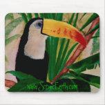Arte tropical del cojín de ratón del pájaro de la  alfombrilla de raton