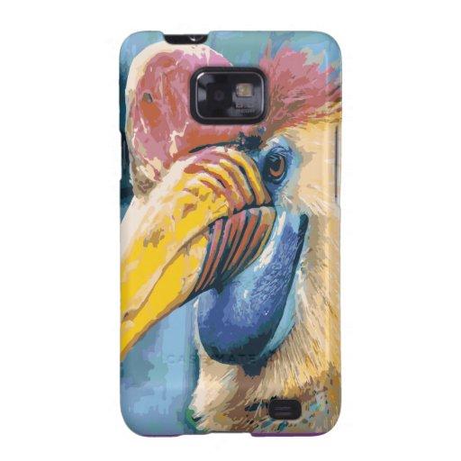 Arte tropical del pájaro del Hornbill colorido enr Samsung Galaxy S2 Carcasas