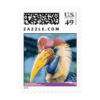Arte tropical del pájaro del Hornbill colorido Sello
