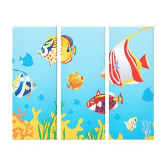 Arte tropical del panel del acuario 3 de los impresiones en lienzo estiradas
