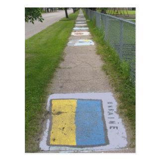 Arte ucraniano de la acera de la bandera postal