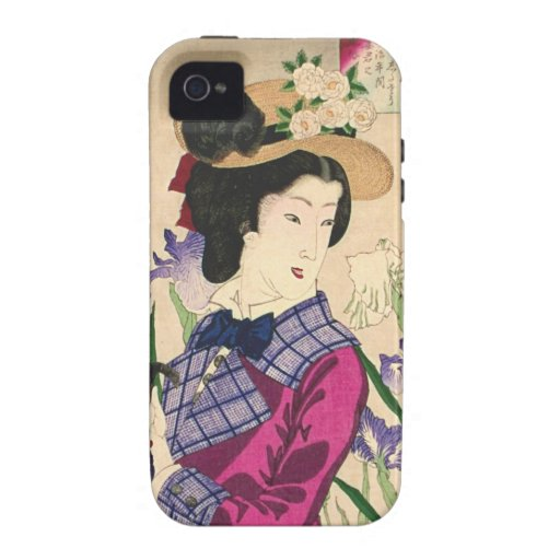 Arte Ukiyo-e de Woodblock del geisha y del japonés iPhone 4/4S Carcasa