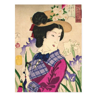 Arte Ukiyo-e de Woodblock del geisha y del japonés Postal