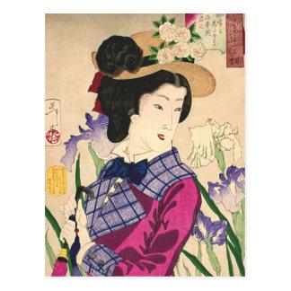 Arte Ukiyo-e de Woodblock del geisha y del japonés Tarjeta Postal