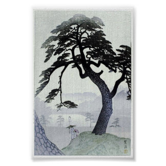 Arte Ukiyo-E de Woodblock del japonés del árbol de