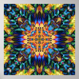 Arte único colorido floral geométrico del arco póster
