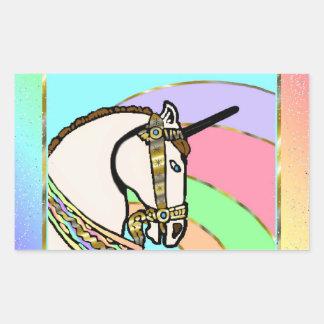 Arte único del arco iris con oro pegatina rectangular