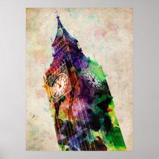 Arte urbano de Londres Big Ben Póster