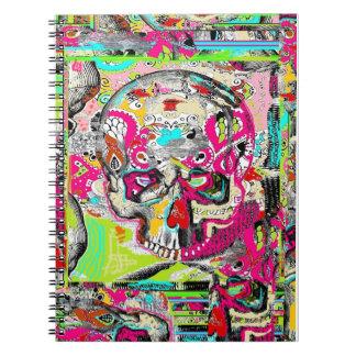 Arte urbano del cráneo spiral notebook