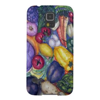 Arte vegetal de la acuarela de las verduras carcasas de galaxy s5