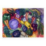 Arte vegetal de la acuarela de las verduras postales