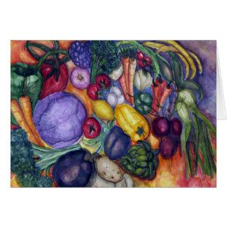 Arte vegetal de la acuarela del mercado del tarjeta de felicitación
