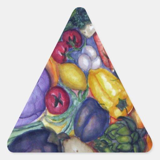 Arte vegetal de la acuarela pegatinas de trianguladas