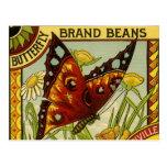 Arte vegetal de la etiqueta de las habas de la mar tarjeta postal