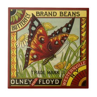 Arte vegetal de la etiqueta del vintage, habas de azulejo cuadrado pequeño