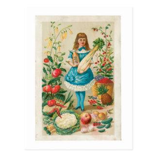 Arte vegetal del anuncio de la comida del vintage postal