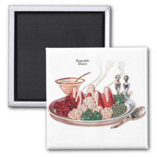 Arte vegetal retro de la cena de la comida 50s del imán cuadrado