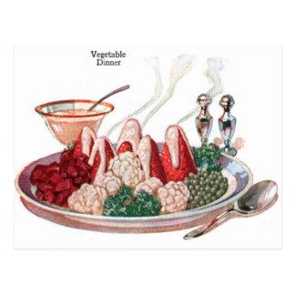 Arte vegetal retro de la cena de la comida 50s del tarjeta postal