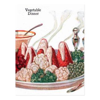 Arte vegetal retro de la cena de la comida 50s del postales