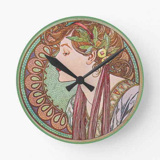 Arte verde de la diosa reloj redondo mediano