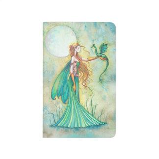 Arte verde de la fantasía de la hada y del dragón cuaderno grapado