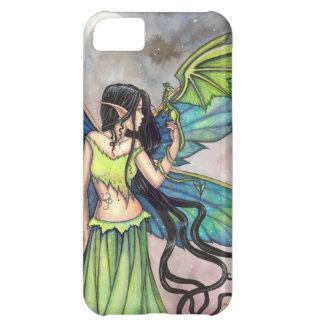 Arte verde de la fantasía de la hada y del dragón funda para iPhone 5C