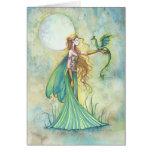 Arte verde de la fantasía de la hada y del dragón felicitaciones