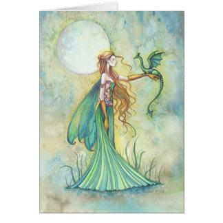 Arte verde de la fantasía de la hada y del dragón tarjeta de felicitación