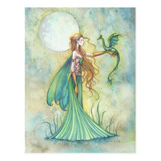 Arte verde de la fantasía de la hada y del dragón postales