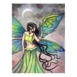 Arte verde de la fantasía de la hada y del dragón tarjeta postal