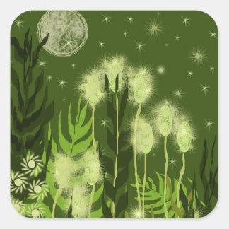 Arte verde de la fantasía de la luna calcomanías cuadradas