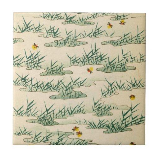 Arte verde de la luciérnaga del verano tejas  ceramicas