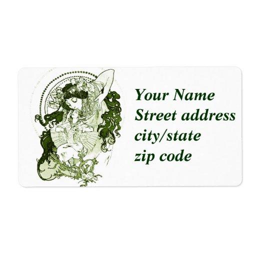 Arte verde de la señora del vintage etiqueta de envío