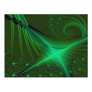 Arte verde del fractal de Interrumpted Tarjeta Postal