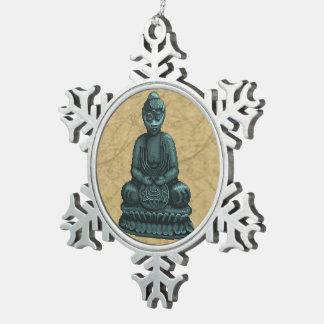 Arte verde del pixel de Buda del verdete Adorno De Peltre En Forma De Copo De Nieve