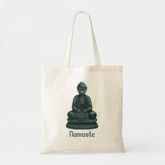 Arte verde del pixel de Buda del verdete Bolsa Tela Barata