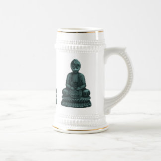 Arte verde del pixel de Buda del verdete Jarra De Cerveza