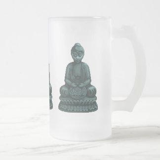 Arte verde del pixel de Buda del verdete Taza De Cristal