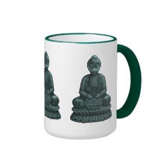 Arte verde del pixel de Buda del verdete Taza De Dos Colores