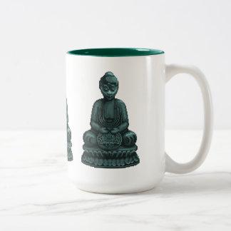 Arte verde del pixel de Buda del verdete Taza De Dos Tonos