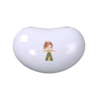 Arte verde del pixel del ángel jarrones de caramelos