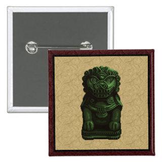 Arte verde del pixel del perro del león pin cuadrada 5 cm