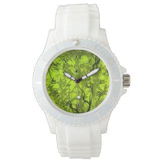 arte verde del vector de los flovers del remolino relojes