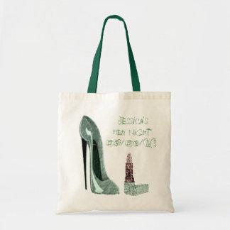 Arte verde del zapato y del lápiz labial del estil bolsa tela barata