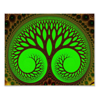 Arte verde fino del fractal del árbol 2 póster