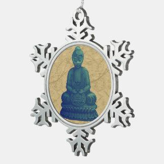 Arte verde místico del pixel de Buda Adorno De Peltre En Forma De Copo De Nieve