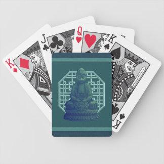 Arte verde místico del pixel de Buda Baraja Cartas De Poker